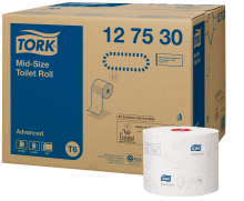 Toiletpapier mid-size tissue wit Tork 2-laags T6 | 27 rol per pak