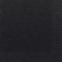 Servet Duni tissue 33x33 cm uni zwart 2-laags 1/4 vouw | 16 x 125 stuks