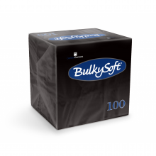Servet Bulkysoft 24x24 cm zwart 2-laags 1/4 vouw | 30 x 100 stuks