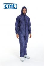 Coverall met rits, capuchon en elastiek blauw XL | 50 stuks