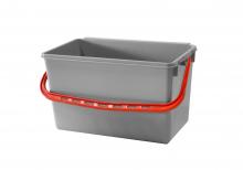 Emmer 22 liter grijs met rood hengsel | per stuk
