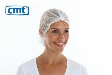 Haarnet baret clip cap non woven wit 53 cm | 10 x 100 stuks