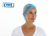Haarnet baret clip cap non woven blauw 53 cm | 10 x 100 stuks